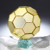 サッカーボールミラーオブジェ(金色)